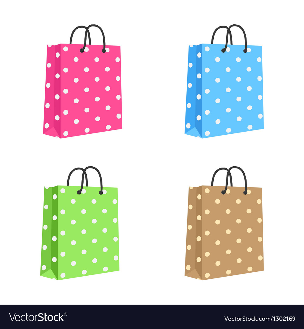 Blank paper shopping bag with rope handles set vector