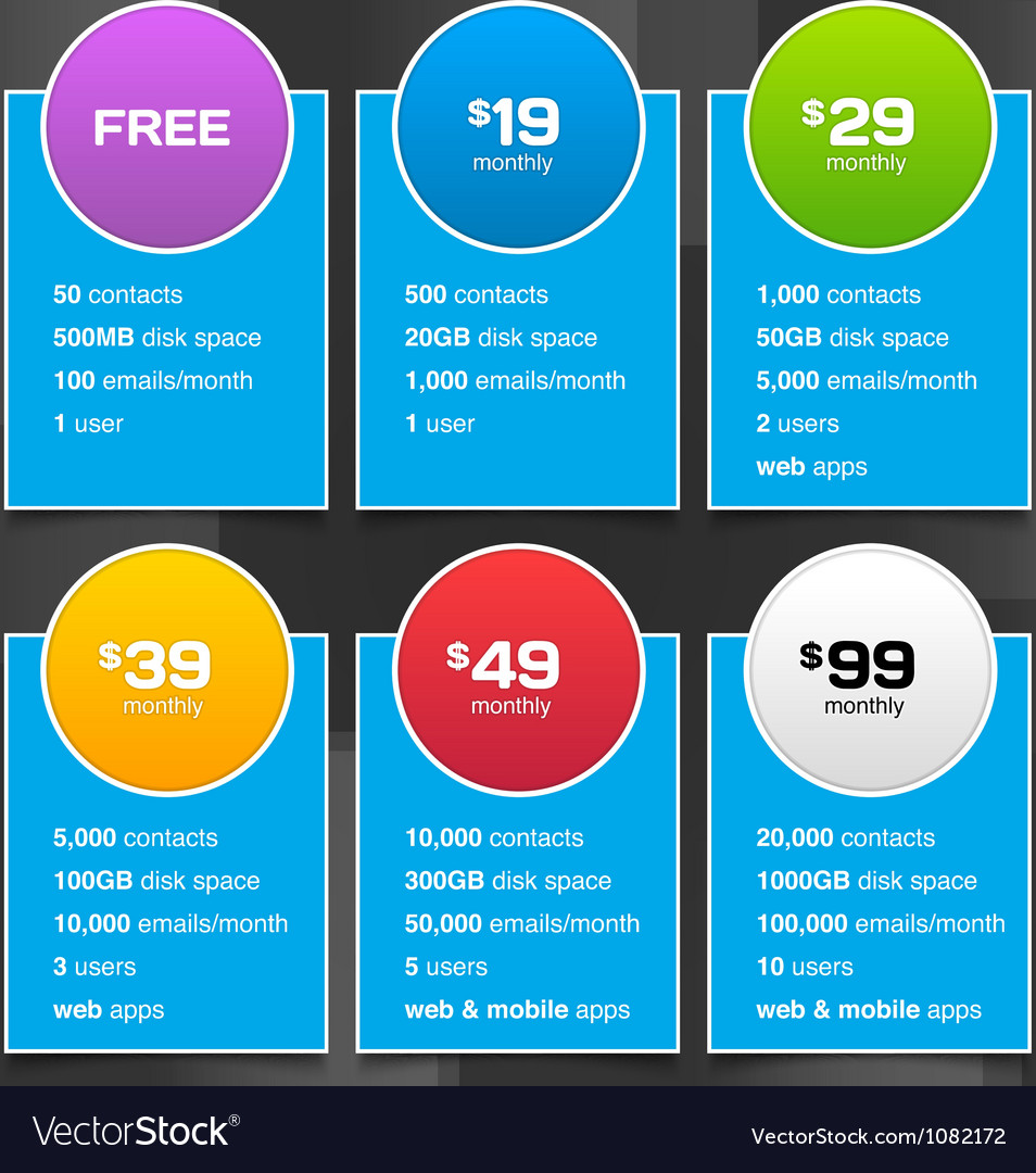Pricing tables with minimalistic design vector