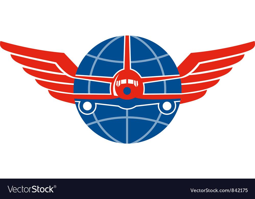 Jumbo jet plane front wings globe vector