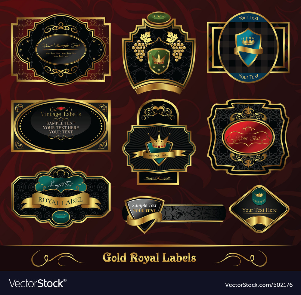 Set colorful gold framed labels vector