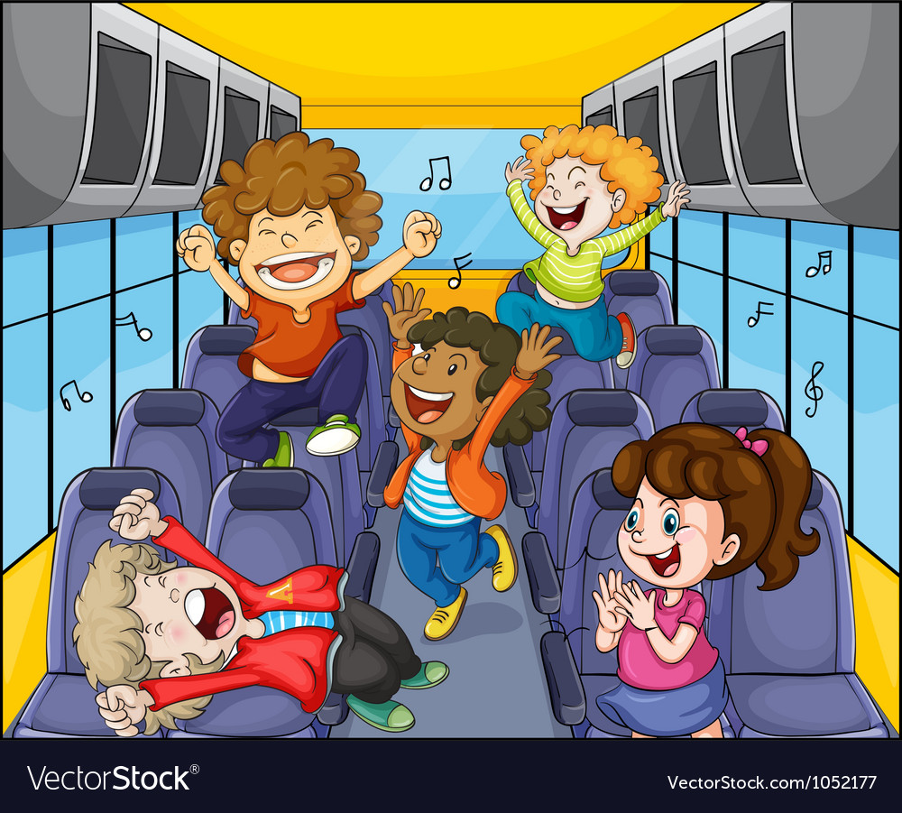 Kids in the bus vector