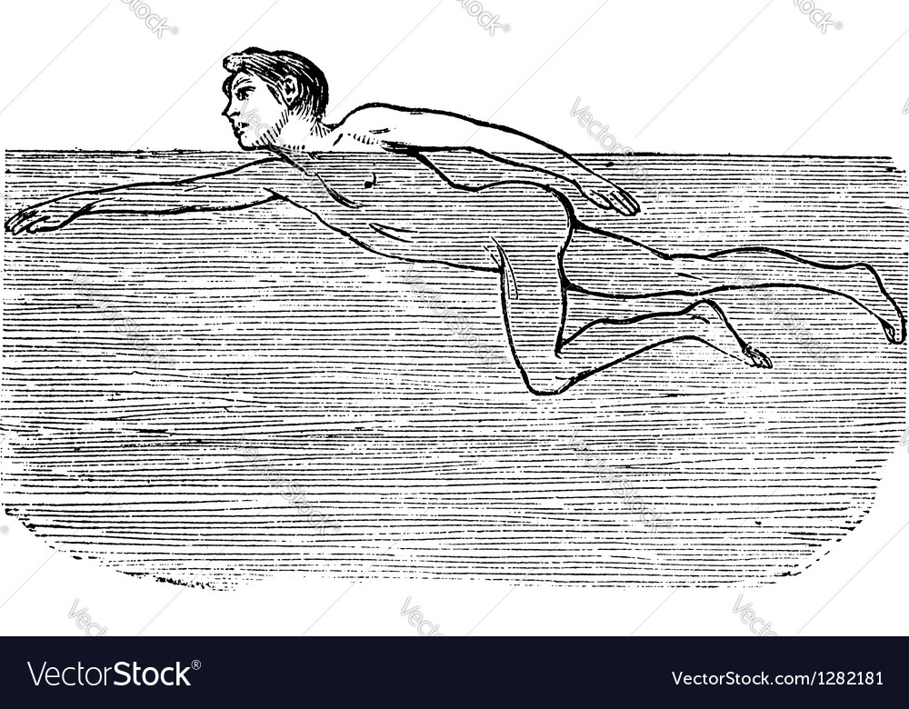 Swimming vintage engraved vector
