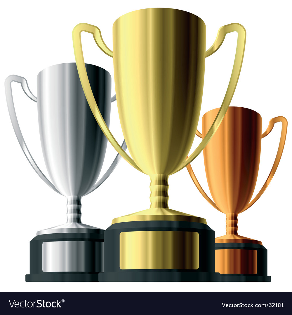 Three trophies vector