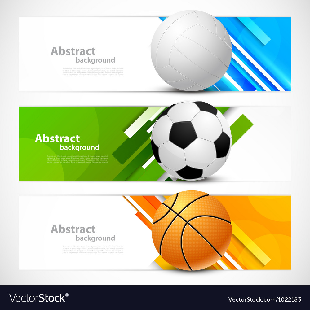 Set of banners with sport balls vector