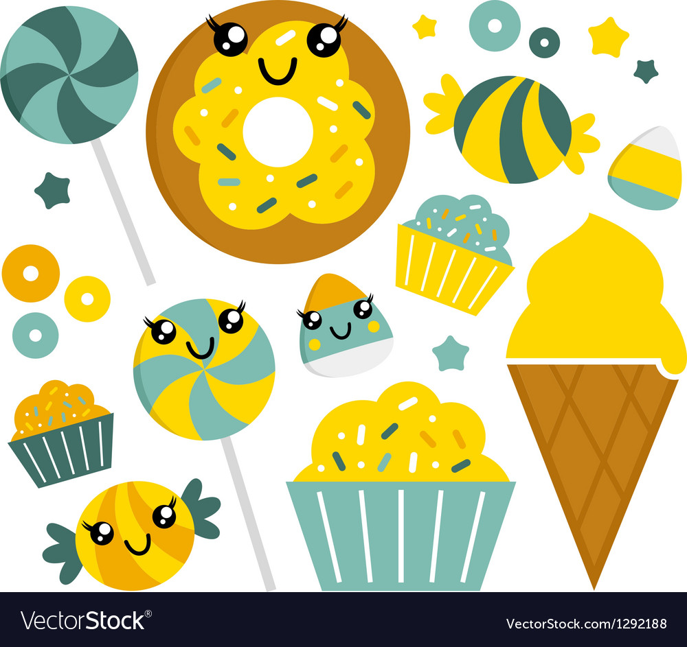 Cute sweet cartoon candy set vector