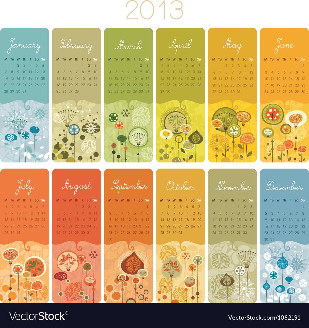 2013 calendar set vector