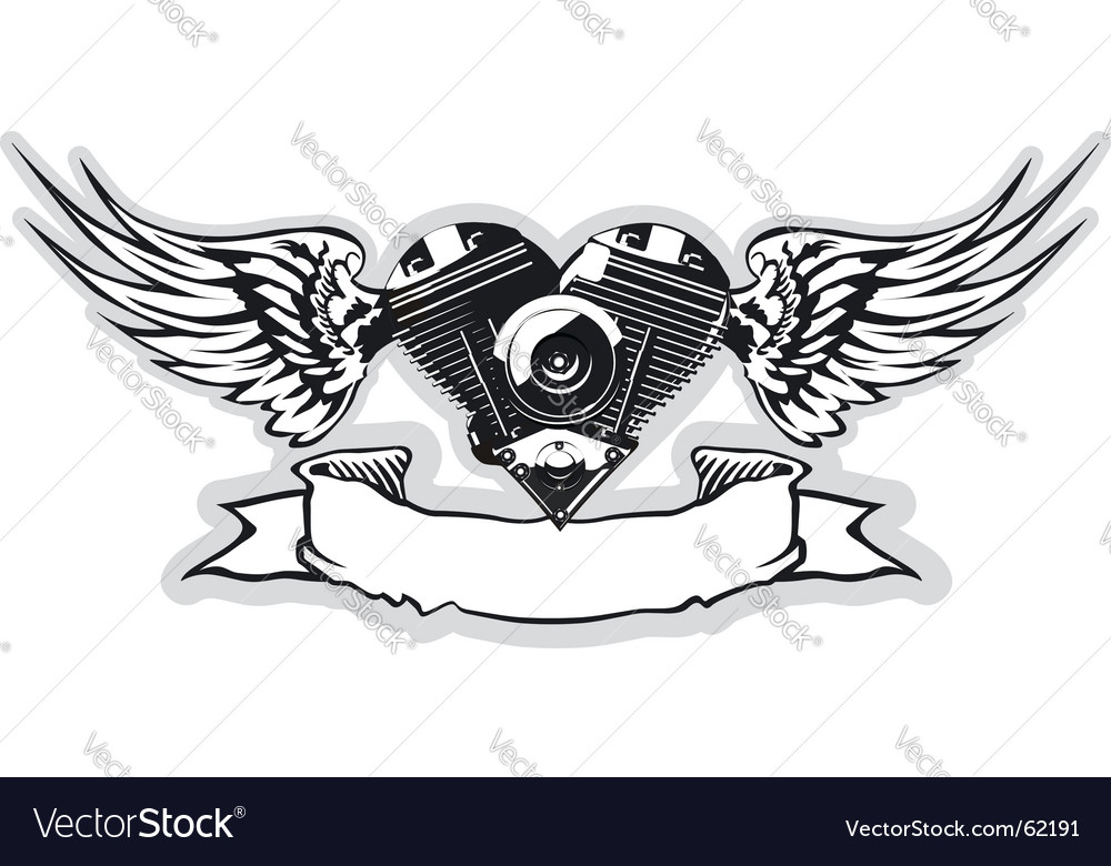 Winged motorbike symbol vector