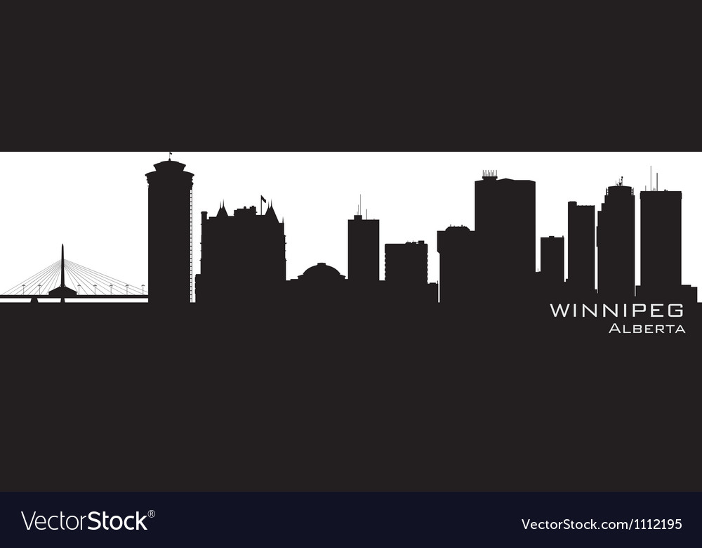 Winnipeg canada skyline detailed silhouette vector