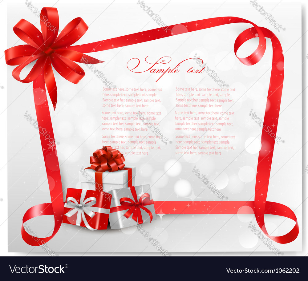 Christmas card with red gift bows and gift boxes vector