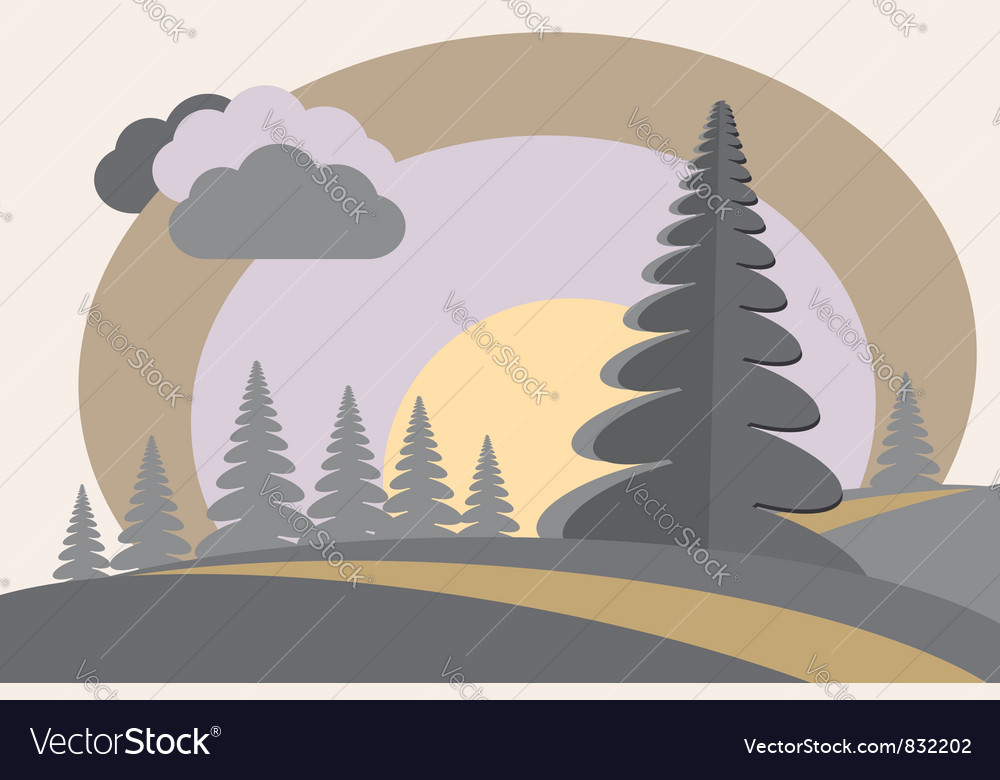 Fir tree hills sun cloud vector