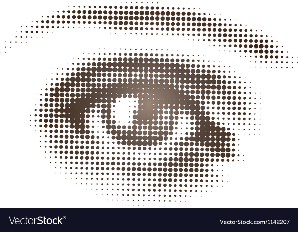 Halftone brown eye vector
