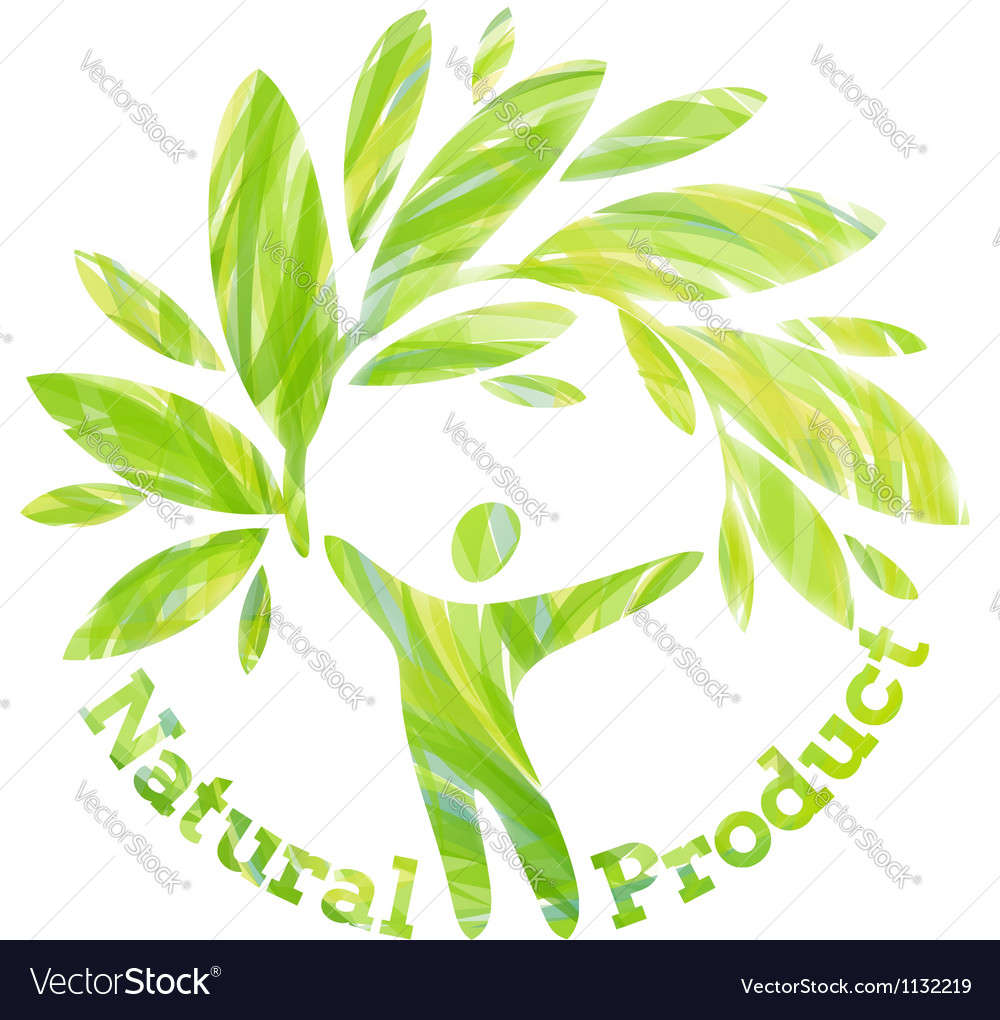 Human figure holding foliage branch vector