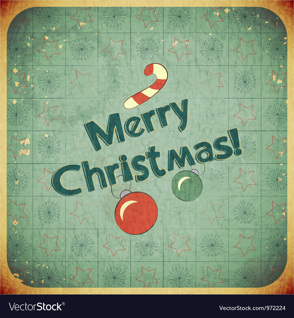 Free christmas retro postcard vector