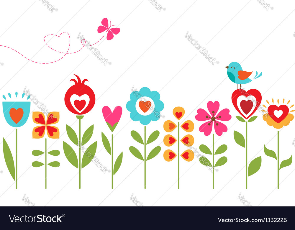 Floral hearts design vector