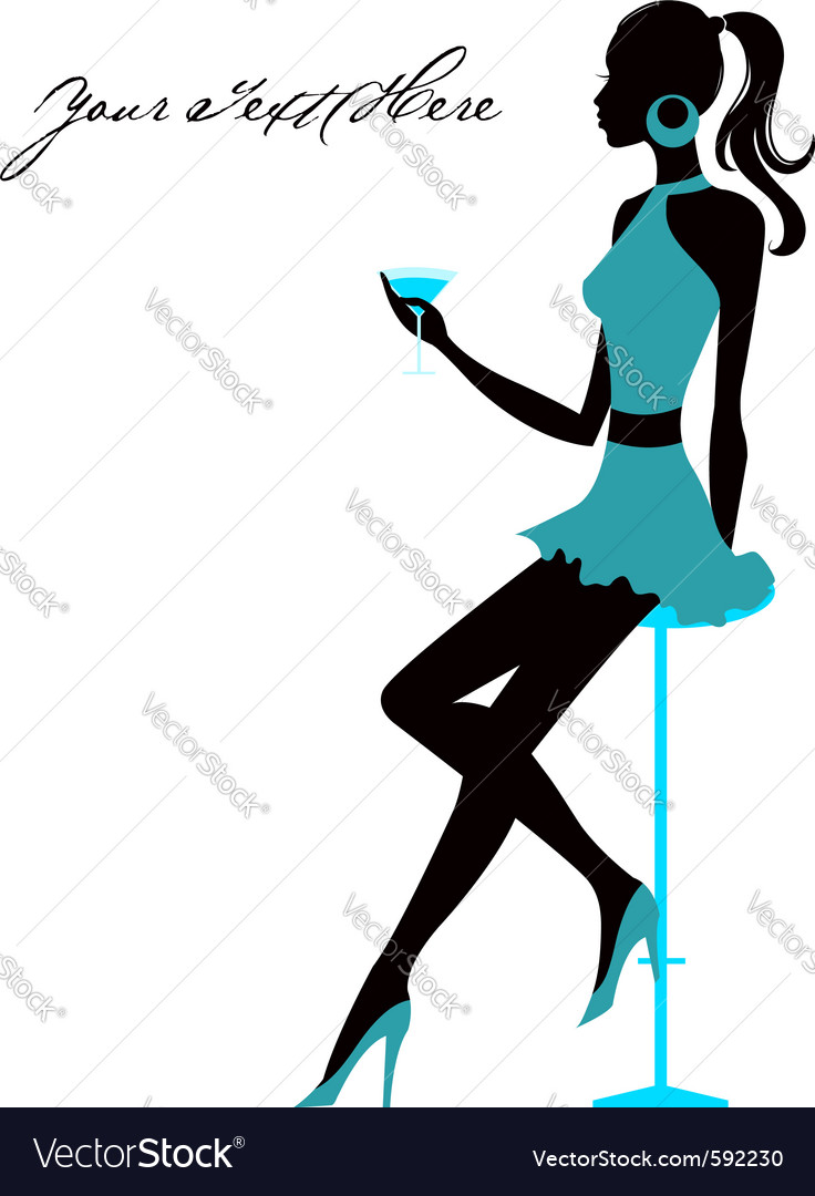 Girl sits in bar vector