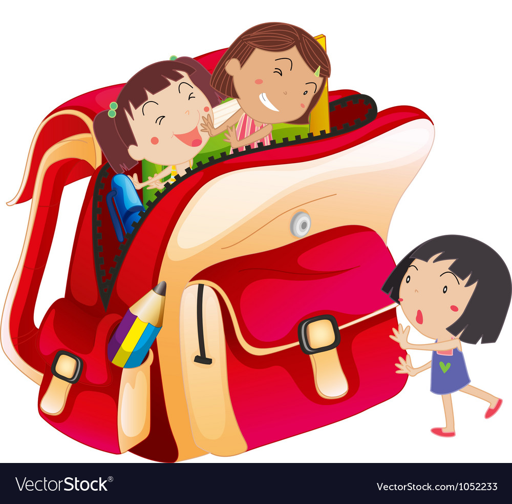 Girls and school bag vector