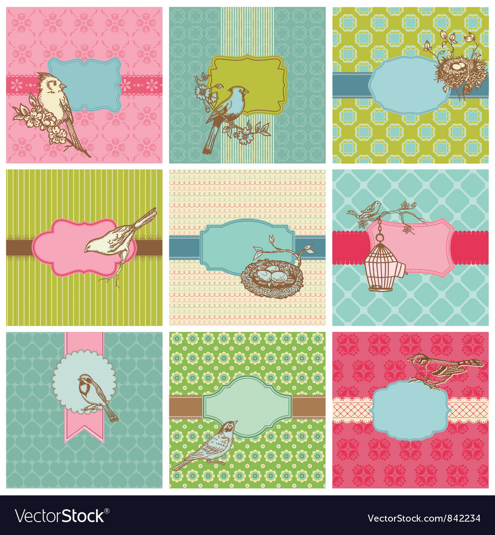 Set of colorful cards vector