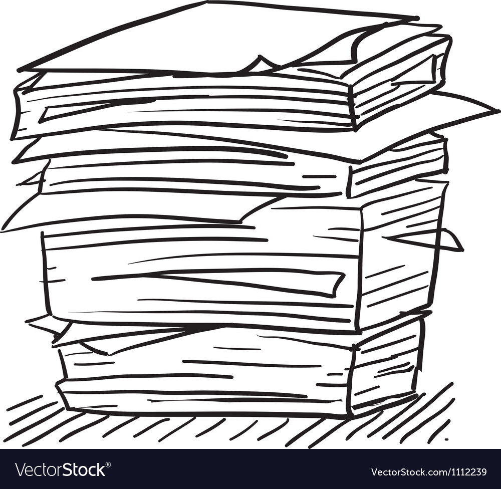 Doodle paper stack stress vector