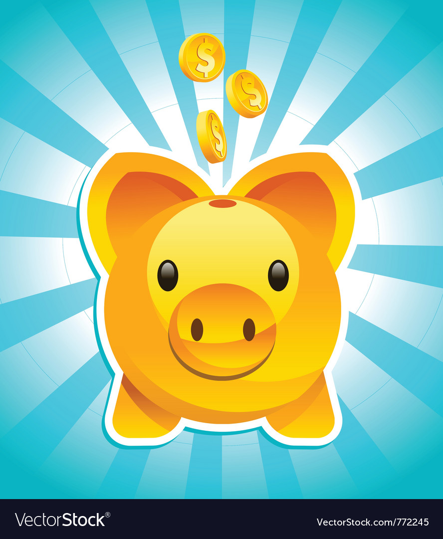 Golden piggy bank vector