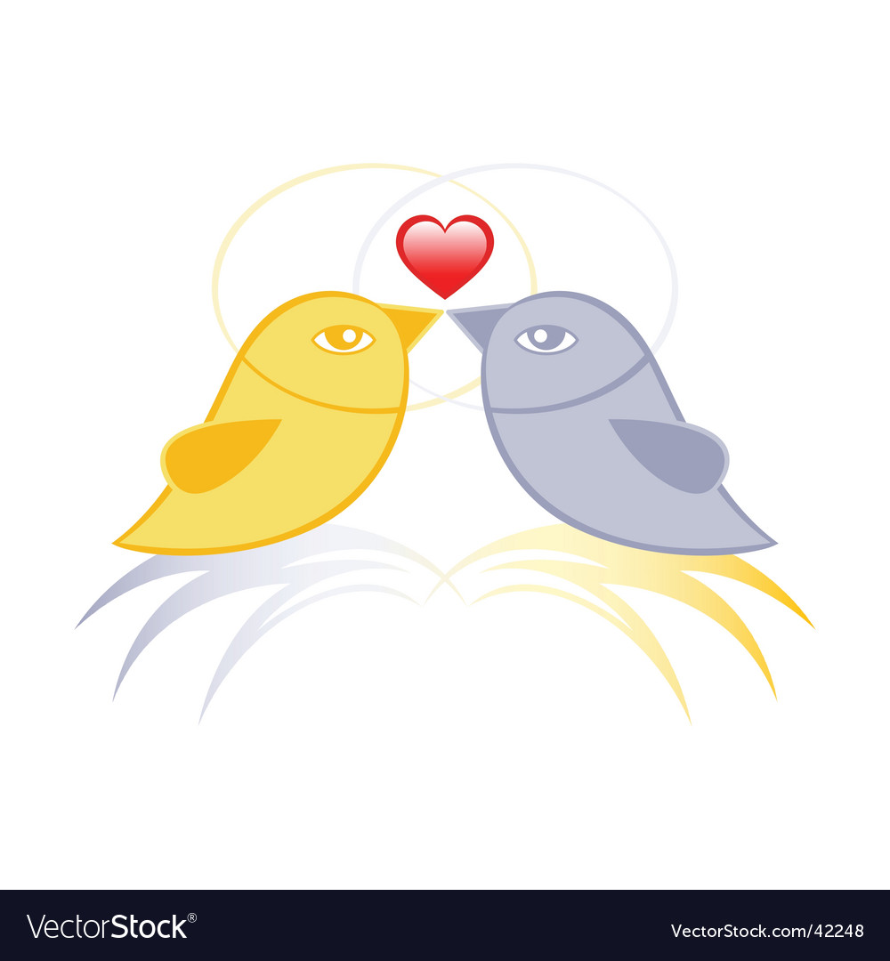 Pair of birds in love vector
