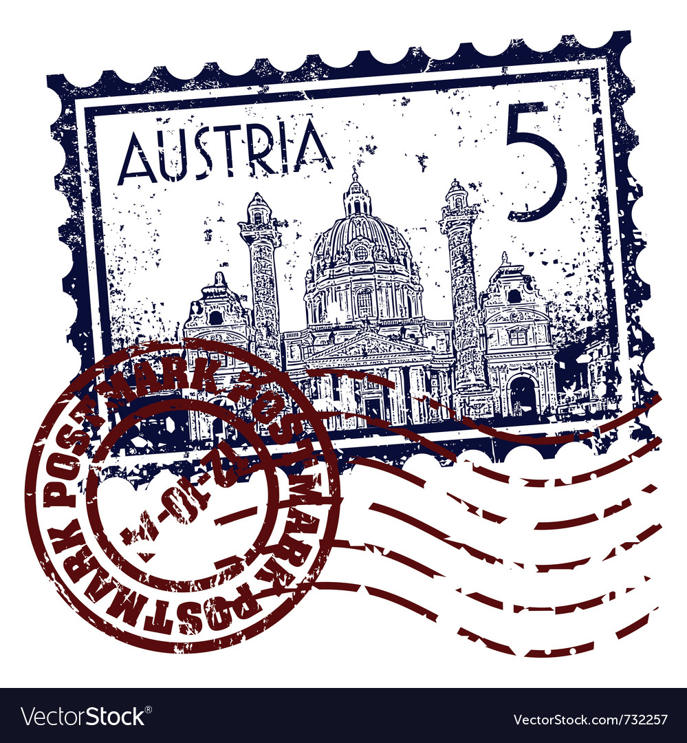 Postmark of austria vector