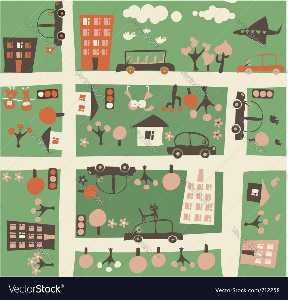 Town birdseye vector
