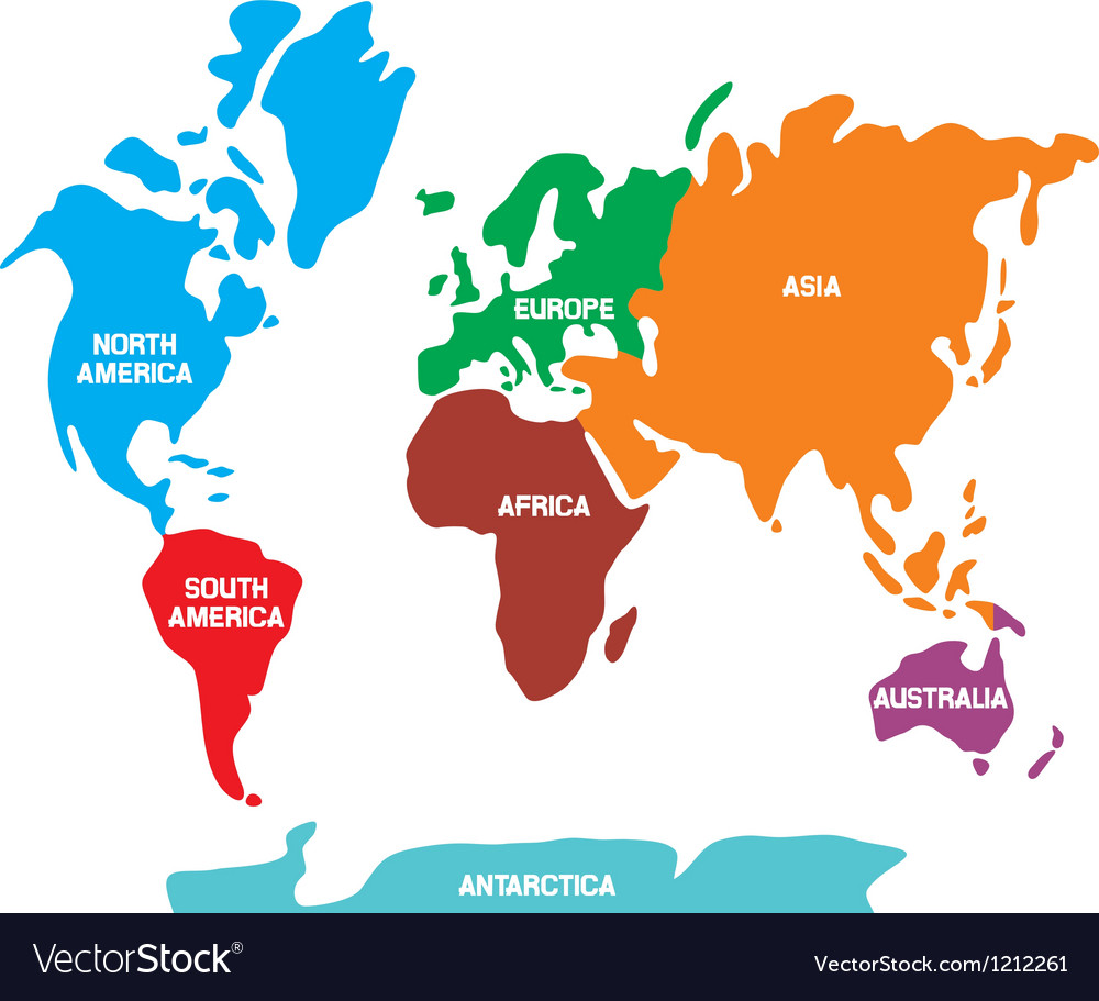 World map with continents vector
