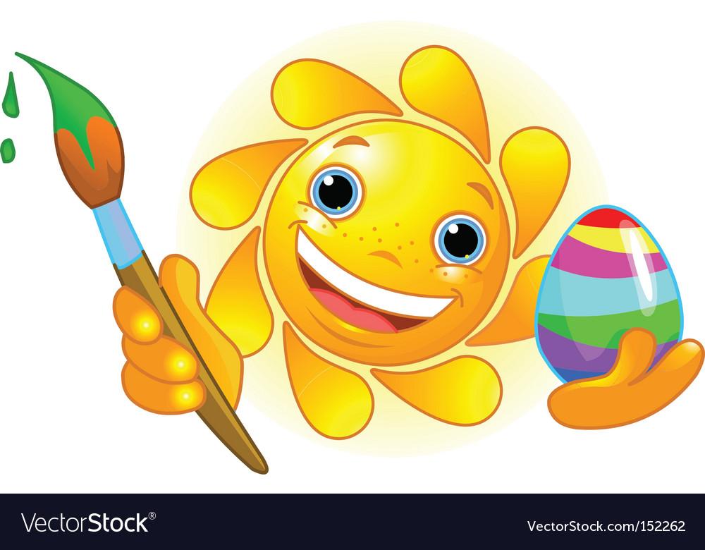 Sun coloring easter egg vector