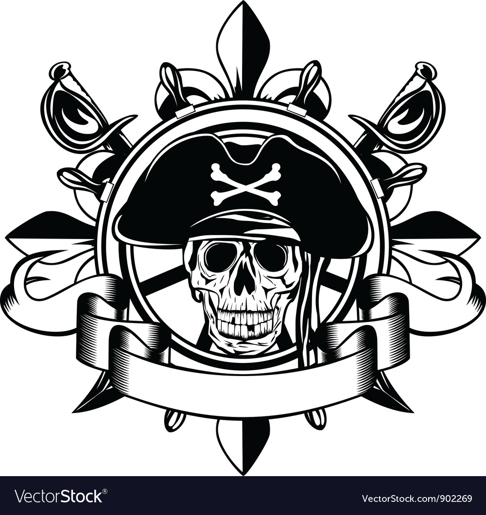 Steering wheel and skull vector