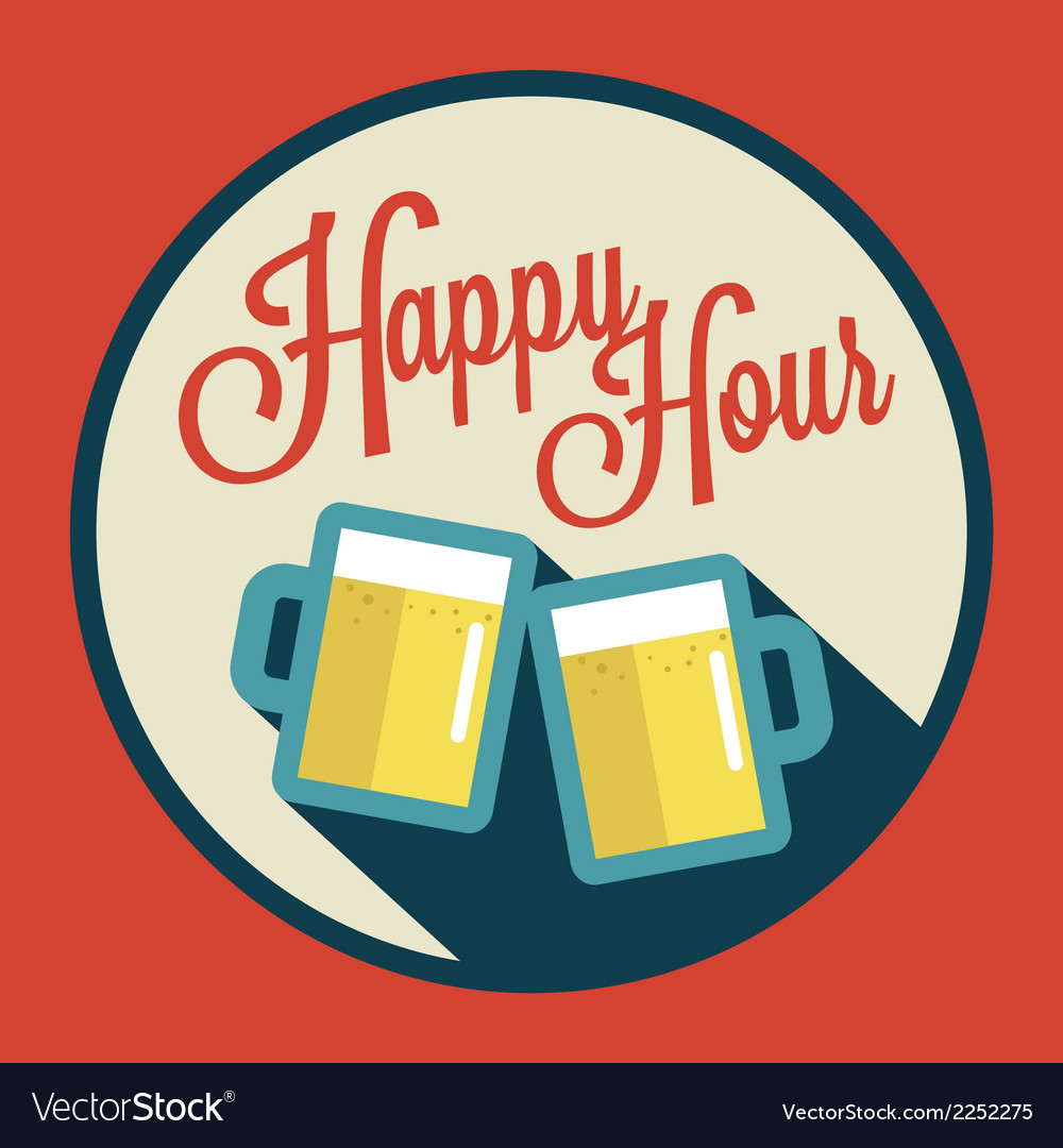 Happy Hour With Beer Vector By Inueng