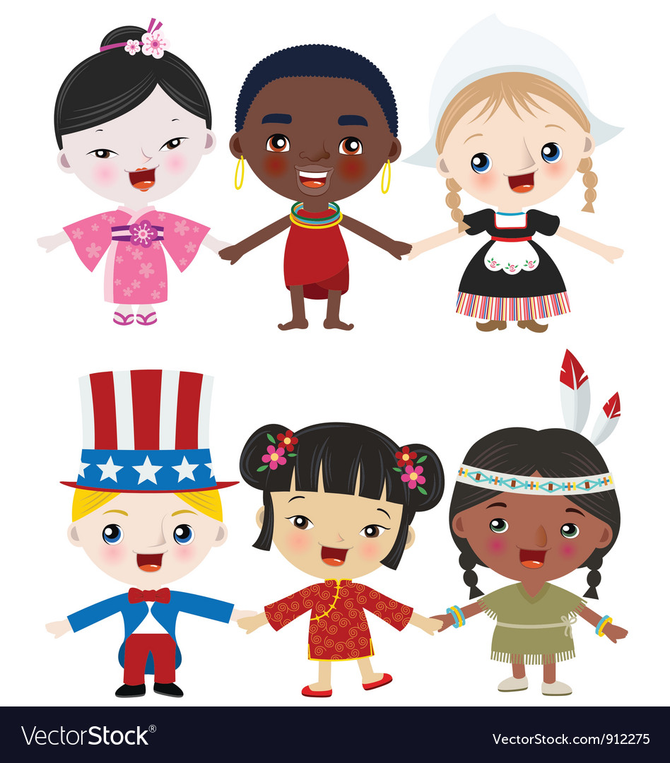 Multicultural kids vector
