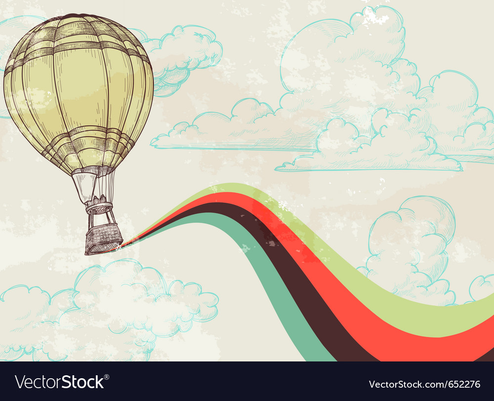 Retro hot air balloon vector