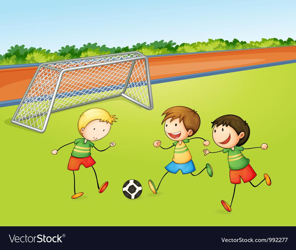Boys playing football vector