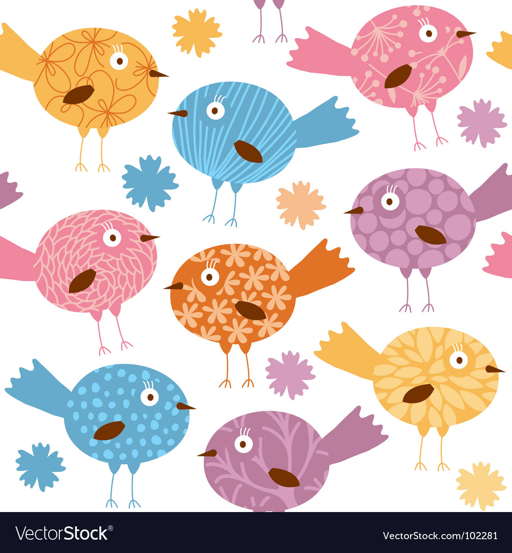 Cartoon birds pattern vector