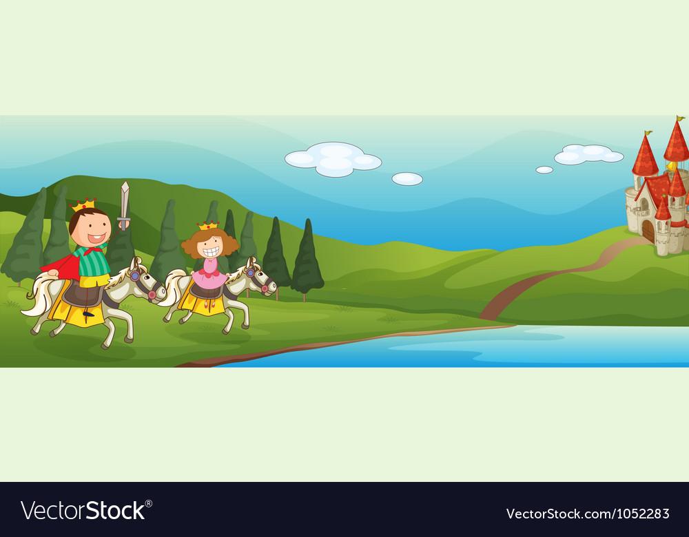 Kids castle background vector