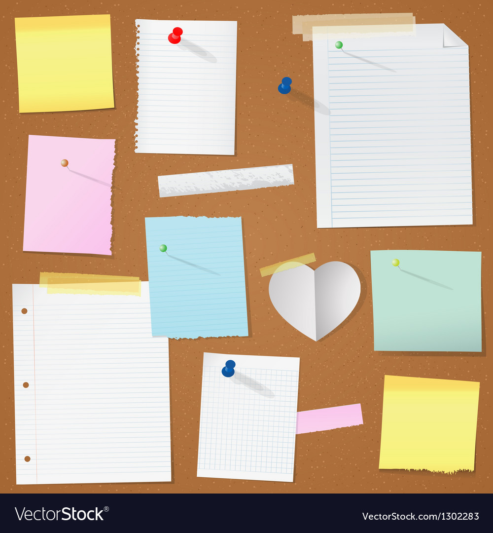 Paper notes on cork board vector