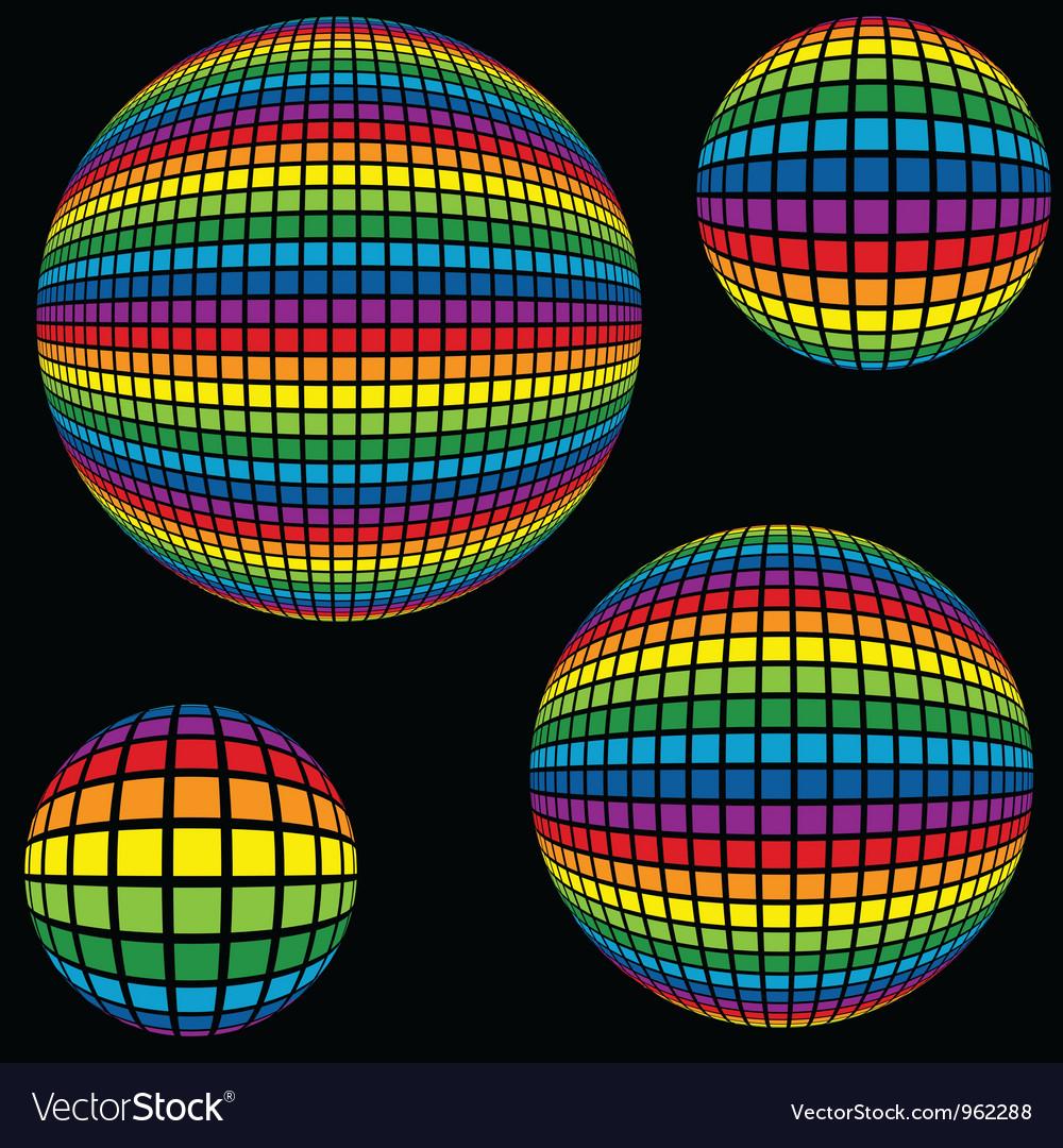 Rainbow disco ball vector