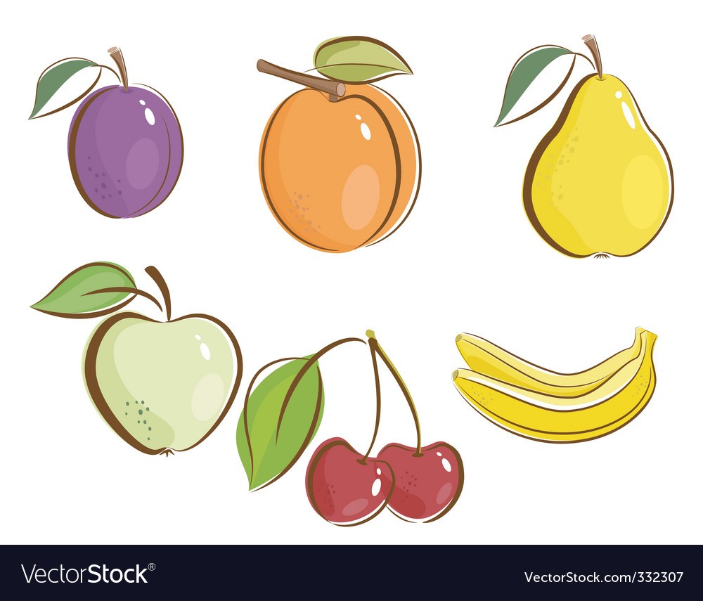 Fruits icons vector