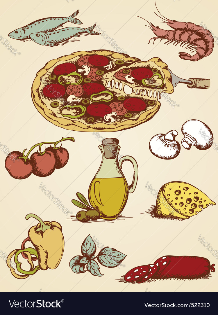 Pizza sketch set vector