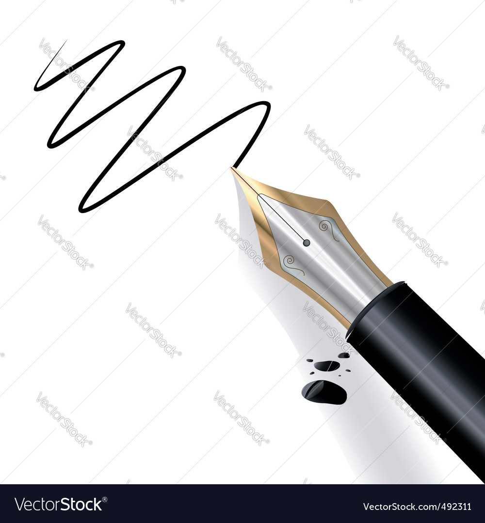 Writing fountain pen vector