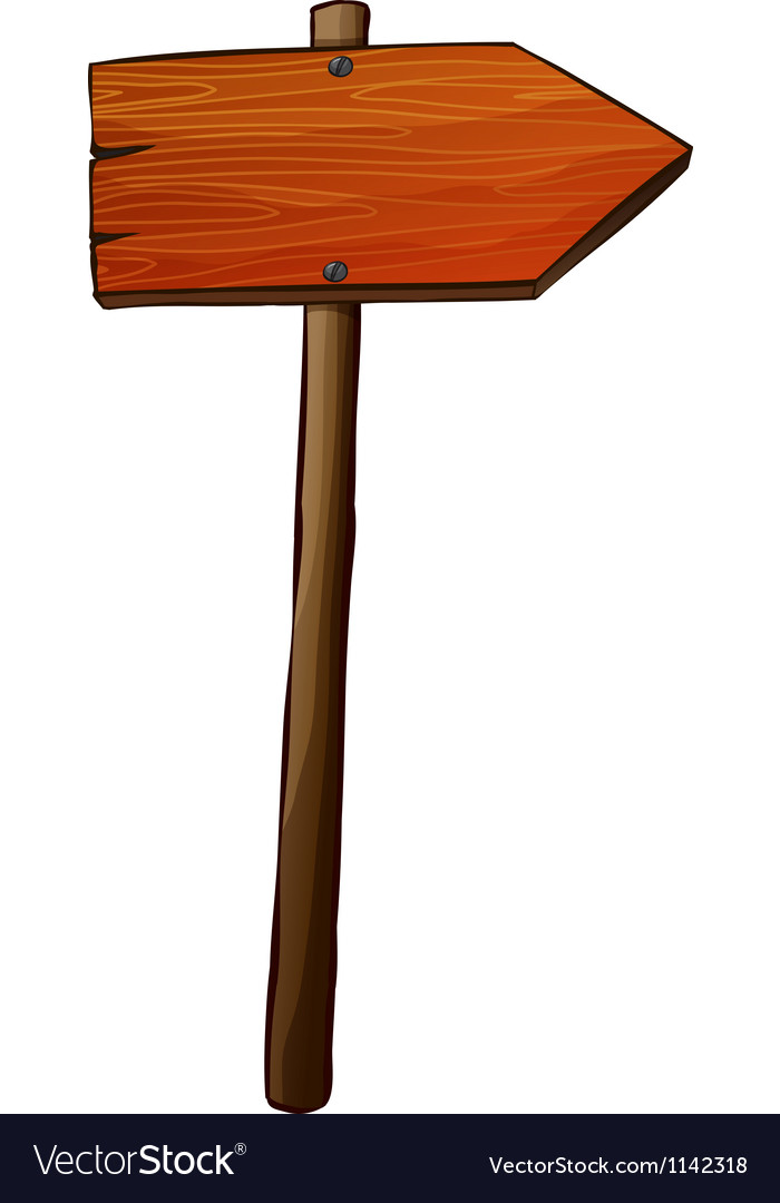 A signboard arrow made of wood vector
