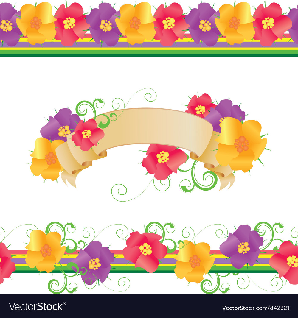 Flowers and butterflies borders vector