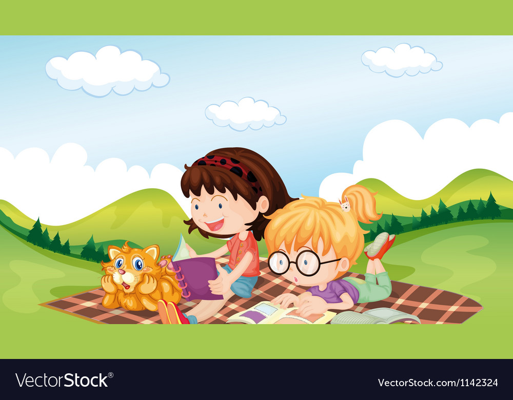 Girls reading with an animal vector