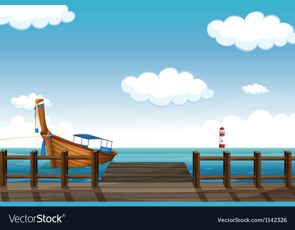 A docked boat and lighthouse vector