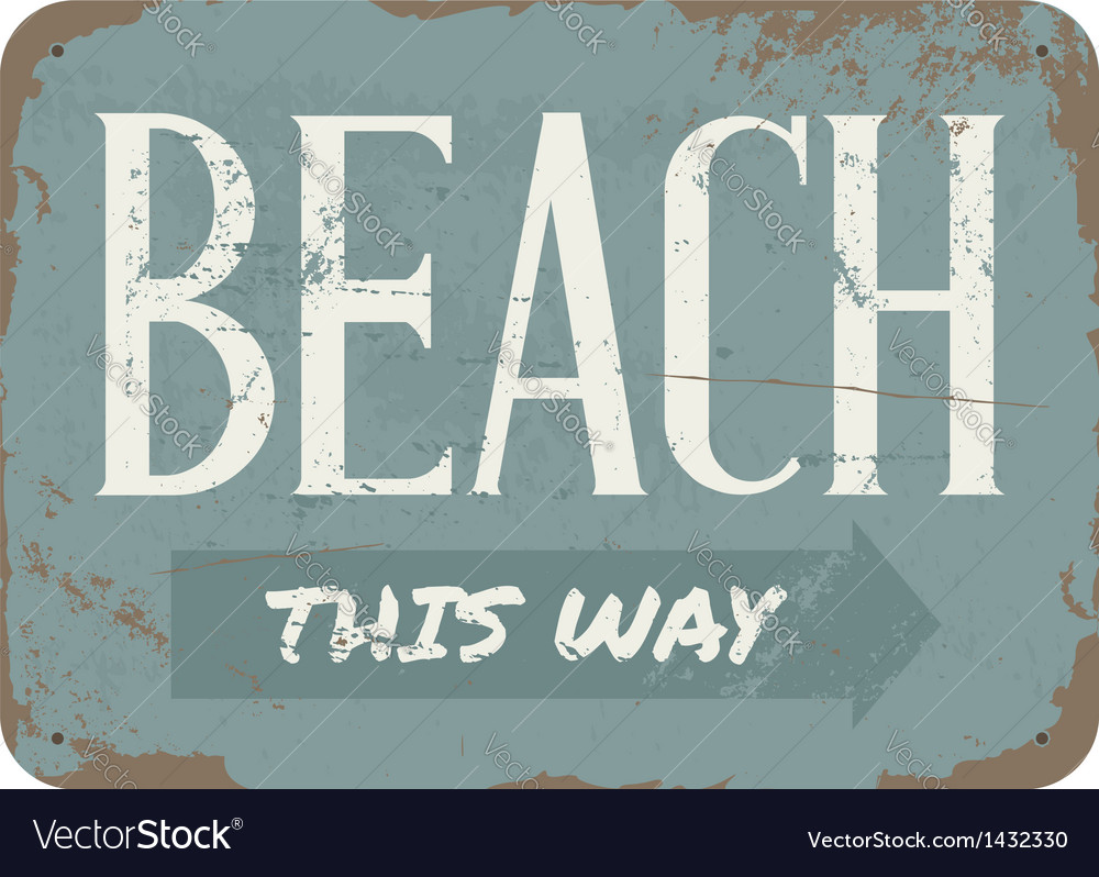 Vintage beach metal sign vector