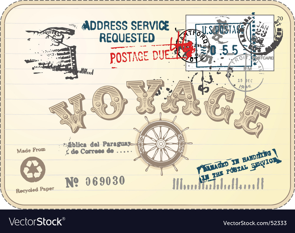 Vintage postcard illustration vector