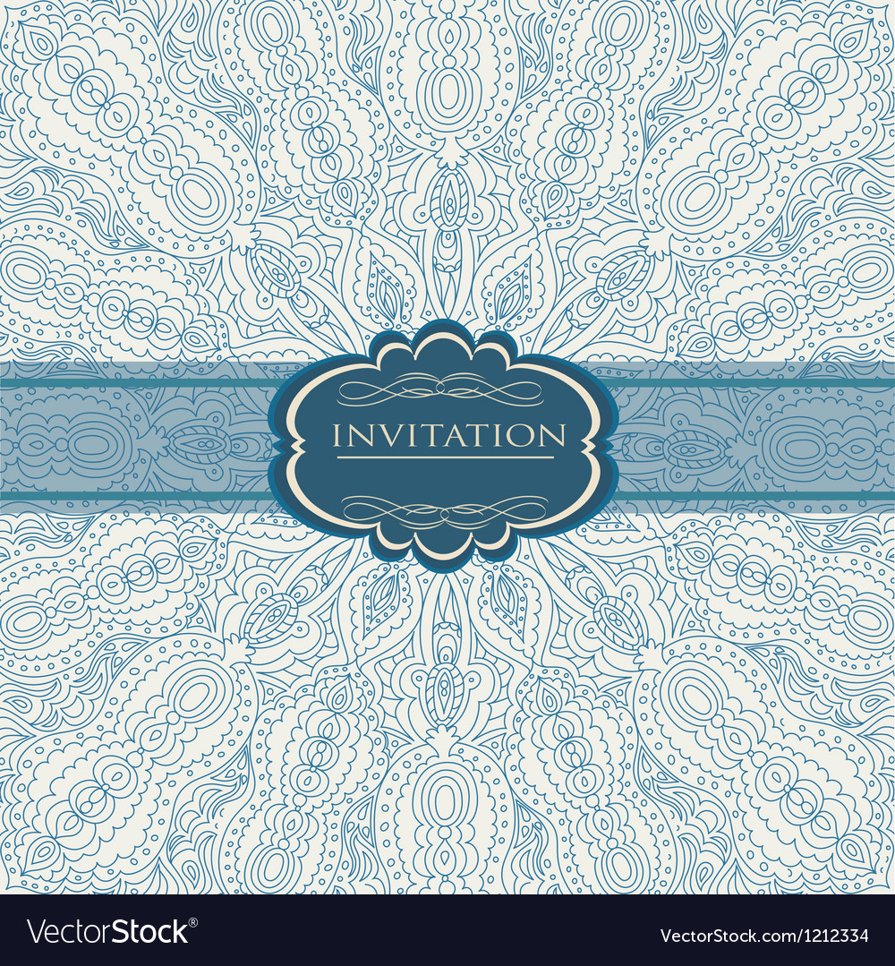 Beautiful blue invitation card vector