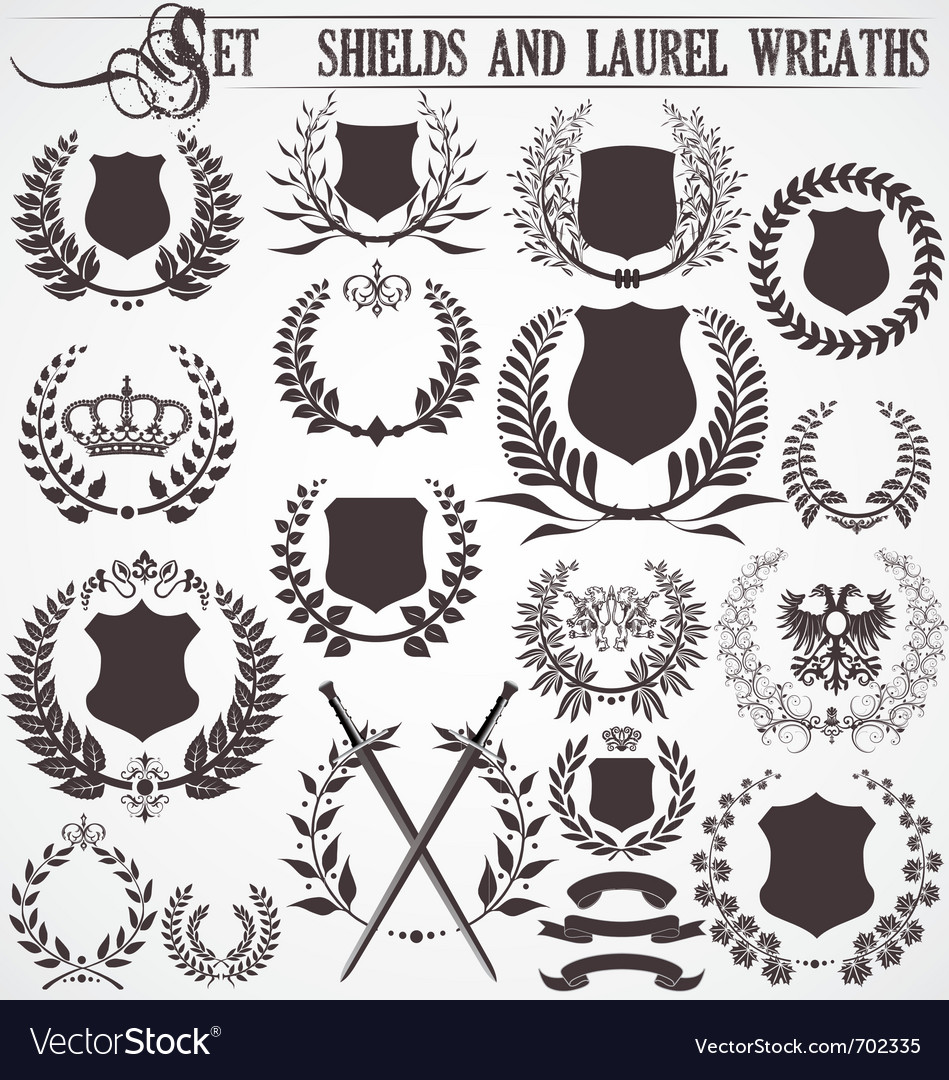 Set - shields and laurel wreaths vector