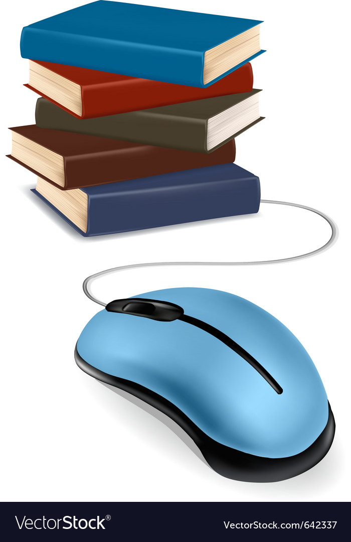 Stack of books and mouse vector