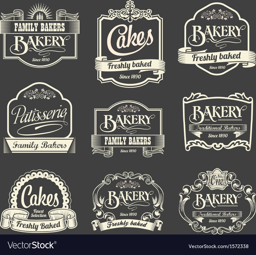 Calligraphic sign and label design set vector